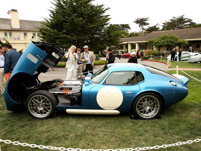 The Renovo, an all electric car based on the Iconic Shelby Daytona Coupe, is displayed  at the Pebble Beach Concours d'Elegance