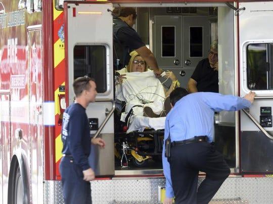 A shooting victim arrives at Broward Health Trauma