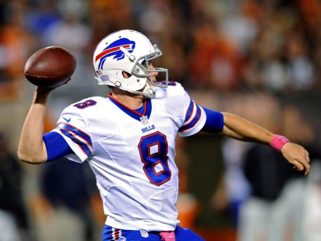 Buffalo Bills quarterback Jeff Tuel passes against the Cleveland Browns in the third quarter of an NFL football game Thursday, Oct. 3, 2013, in Cleveland. Tuel replaced starter EJ Manuel, who left with an injury. (AP Photo/David Richard)