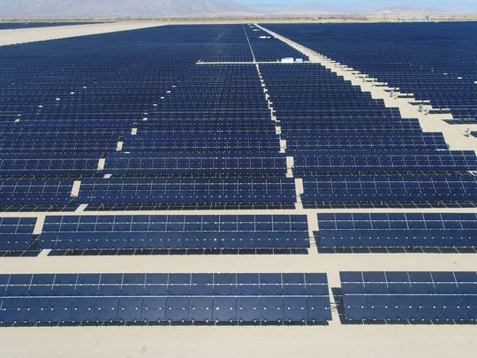 The 50-megawatt Seville solar farm at Allegretti Ranch, in western Imperial County off Highway 78, seen from a drone.