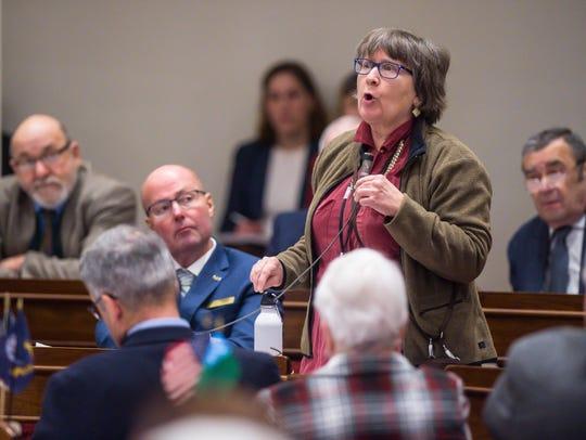 Rep. Cynthia Browning, D-Arlington, speaks against