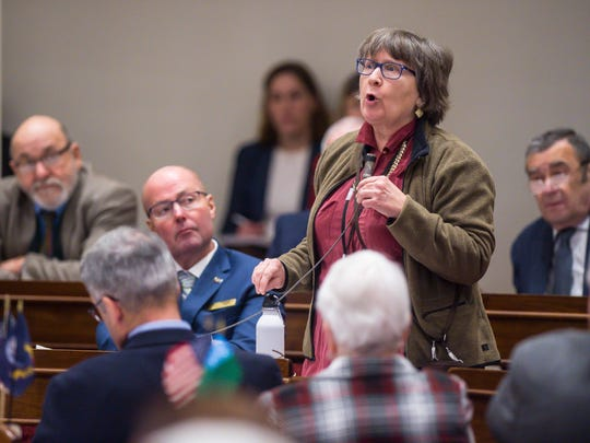 Rep. Cynthia Browning, D-Arlington, speaks against the marijuana legalization bill at the Statehouse in Montpelier on Thursday, January 4, 2018.