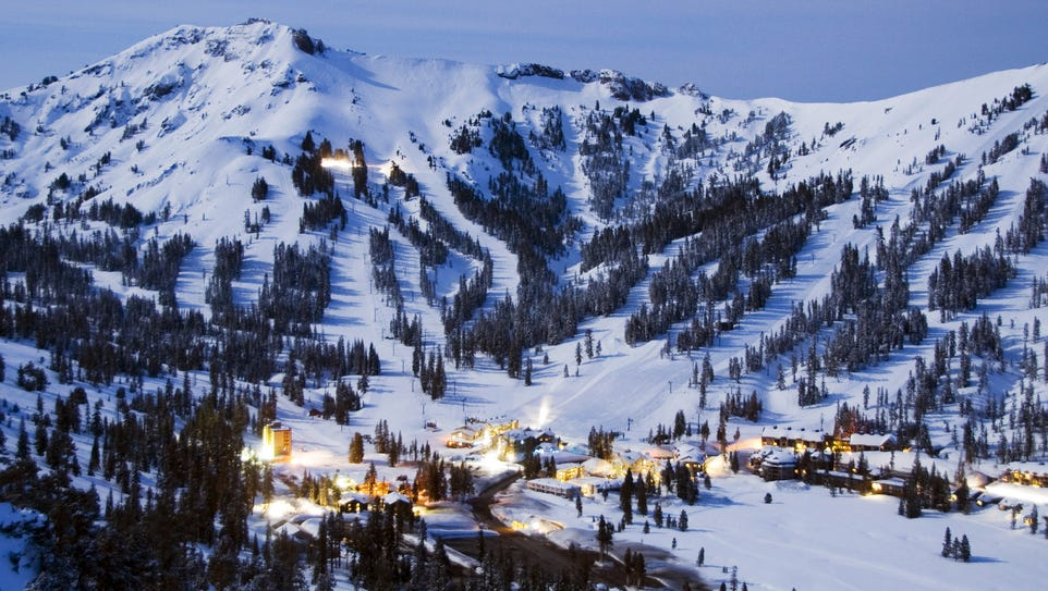 Kirkwood Mountain Resort is illuminated by the light