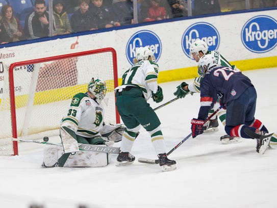 Joel Farabee (28) of the U.S. NTDP Under-18 team deposits the puck past Sioux City goalie Ben Kraws (33) during a power play late in the second period on Jan. 13.