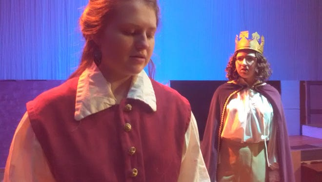 """Emma Sampson (Camillo) and Nora Oechslin (Polixines) in """"The Winter's Tale"""" at Robert E. Lee High School."""