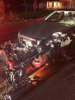 A 67-year-old Hanson man suffered serious injuries after his motorcycle and a car collided on Indian Head Road on Friday night, Sept. 4, 2020. The motorcyclist was rushed to a hospital in Boston in a helicopter with serious injuries, according to police.