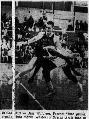 1965: COLLISION: Jim Waldron, Fresno State guard, crashed into Texas Western's Orsten Artis late in Saturday night's game between the two teams. Artis scored two points from the free throw line on a one and one situation after the collision to stretch the Miner lead to 75-68. Texas Western won 75-73.