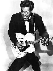 Rock icon Chuck Berry is seen in a 1955 promotional