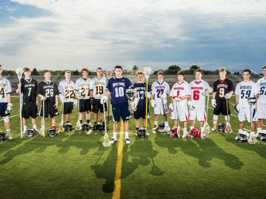 The GameTimePA.com first-team boys' lacrosse all-stars are, from left: Eastern York's Conrad Rhein, South Western's Ben Hollinger, South Western's Anthony DeVincent, Red Lion's Sam Emig, Red Lion's Tanner Reif, Red Lion's Joe Dashler, West York's Hunter Betz, West York's Tanner Hale, Spring Grove's Tanner Bolton, Susquhannock's Collin Riley, Susquehannock's Shane Silk, York Suburban's Collin Mailman, Dallastown's Brian Prats and Dallastown's Frankie Marquet. Read more about the all-stars inside and at GameTimePA.com.