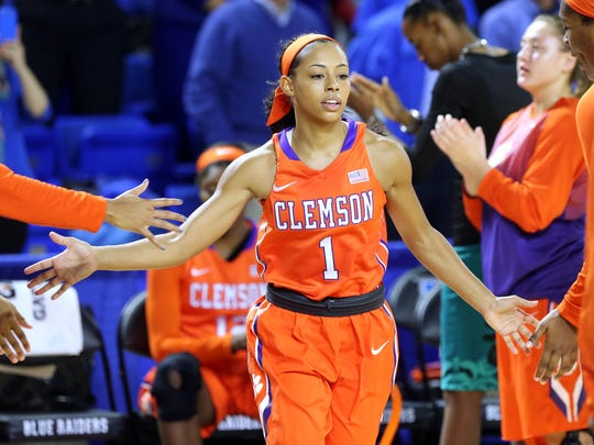 Former Riverdale player Tiffany Lewis is introduced for Clemson before taking on the Lady Raiders Wednesday, Dec. 3, 2014 at MTSU.