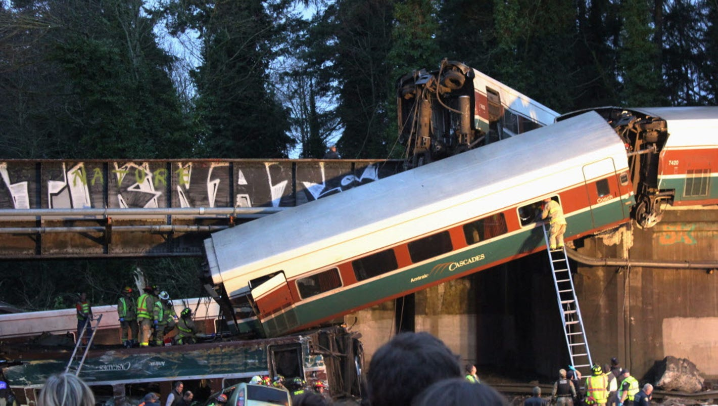 amtrak train derailment Amtrak train derails on overpass in washington state, killing 3  an amtrak  train derailed south of seattle and fell partly onto interstate 5,.