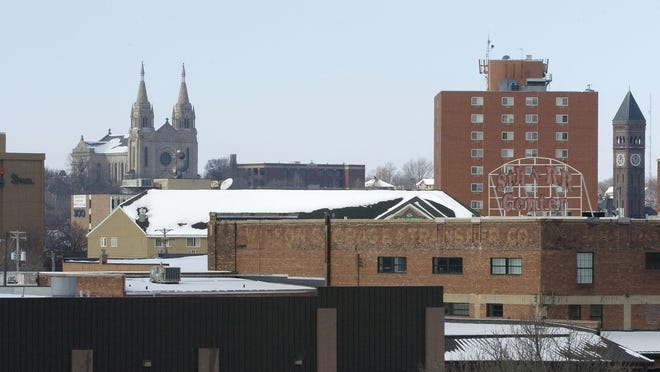 The Sioux Falls skyline as seen from the 10th Street bridge.