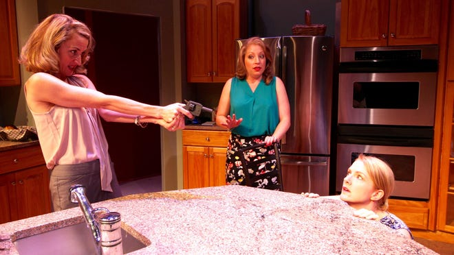 """Heidi Weeks (Nicky), Kathleen Clancy (Molly) and Suzanne Kimball (Debra) star in """"The Smell of the Kill"""" at Chenango River Theatre in Greene."""