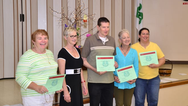 Rutgers Master Gardeners of Cumberland County graduated five interns on May 31. Newest members are (from left) Mary Ann Beggs of Dorchester, Ann Kistler of Cape May Court House, James Lyden of Newfield, Cathie Scibilia of Millville and Natalie Donato of Atlantic City. They will join veteran Master Gardeners on volunteer projects throughout Cumberland County and are ready to help the public in responding to various gardening issues and questions. For program information, call (856) 451-2800, ext. 4.