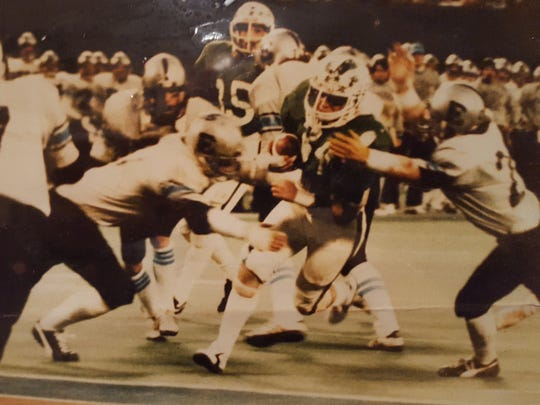 Nick DePalma finds the end zone for Brick in the 1981 South Jersey Group IV final against Toms River East at Giants Stadium.