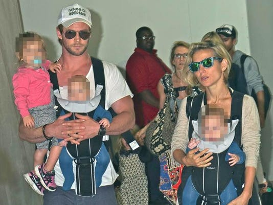 Chris Hemsworth with his family