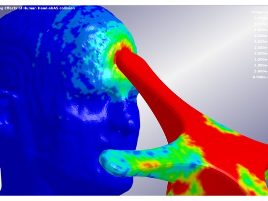 This computational simulation of an unmanned aircraft system impacting the human head was developed by Mississippi State researchers using the university's High Performance Computing Collaboratory's supercomputers. The color contours represent von Mises shear stress as the UAS impacts with the forehead of the human head model.