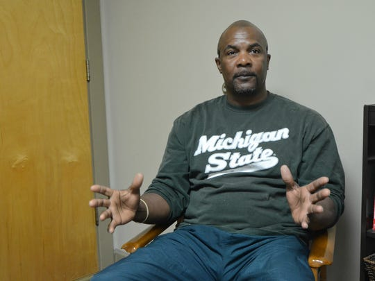 Albion native Glenn Estelle, 53, discusses his successes within The Haven of Rest Ministries' Men's Life Recovery Program Tuesday at the Haven's facility at 11 Green St. in Battle Creek.