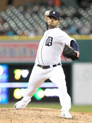 Tigers pitcher Anibal Sanchez throws during the eighth inning of the Tigers' 5-3 loss Friday at Comerica Park.
