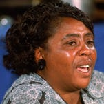 Fannie Lou Hamer, who helped found the Mississippi Freedom Democratic Party, speaks before the Democratic National Convention in 1964.