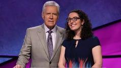 Jeopardy host Alex Trebek with contestant and Roeper School teacher Susannah Nichols.