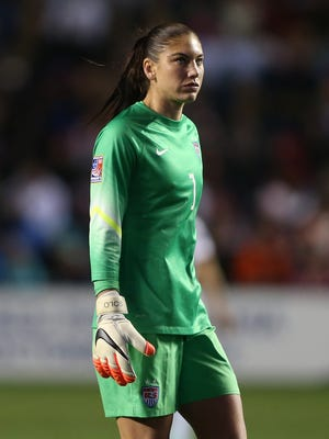 U.S. goalkeeper Hope Solo (1) during a women's World Cup qualifier soccer match against Guatemala at Toyota Park in November.