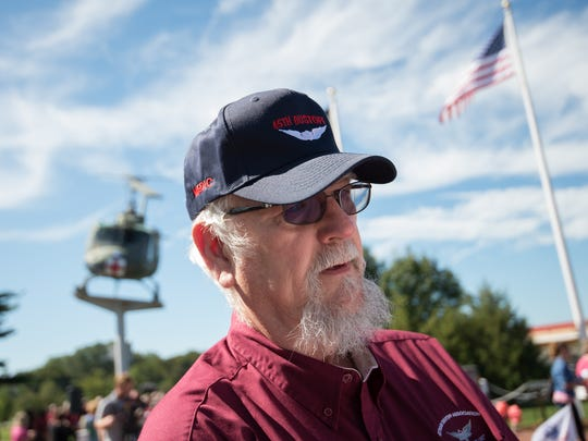 "Larry Kipp of Lawrence, KS., who graduated from Brandywine High School and was in Vietnam as a Huey crew chief from 1968-1969 at the Dustoff Memorial Service for the UH-1 ""Huey"" helicopter crews who rescued 900,000 veterans from harm's way in Vietnam at the Vietnam Veterans of America Memorial in Dover."