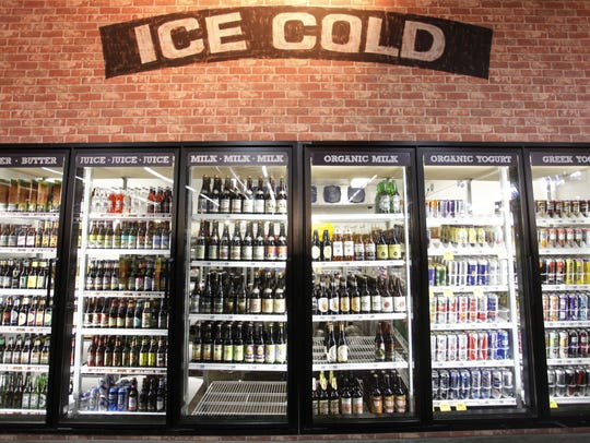 A refrigerated case in the Bistro Market.