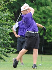 Unioto sophomore Ty Schobelock tees off on the fifth