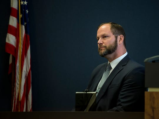 Port Huron Police Sgt. Chris Frazier testifies during the trial of Douglas Ball Jr. Tuesday, April 11, 2017 in the courtroom of Judge Michael West at the St. Clair County Courthouse.