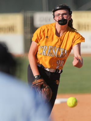 Crescent pitcher Kayla Pepper pitches to Hanahan during the top of the first inning of game one, in the Class AAA State Championship series, at Crescent High School in Iva on Monday.