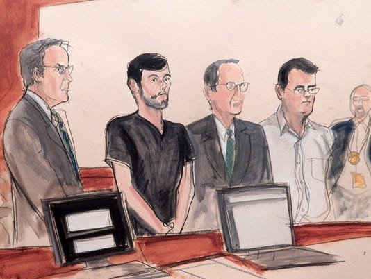 defense attorney Baruch White, Martin Shkreli, defense attorney Jonathan Sack co-defendant Evan Greebel