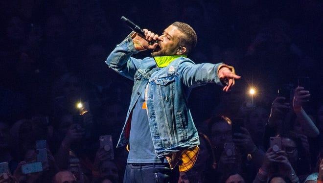Justin Timberlake performs at Little Caesars Arena on Monday, April 2, 2018.