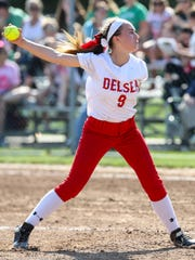 Delsea pitcher Anastasia Reale delivers during an 8-4
