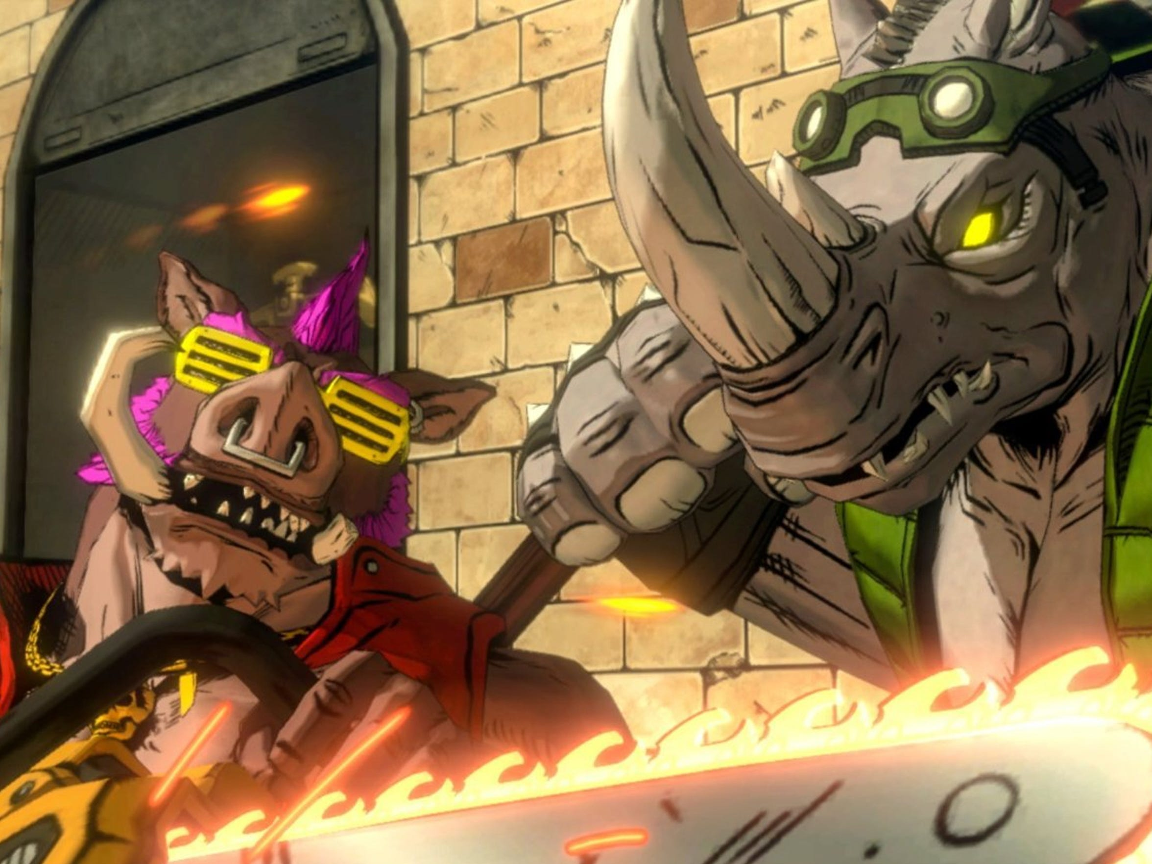 """Bebop and Rocksteady go against those pesky """"toitles"""""""