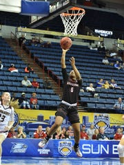 UL's Jomyra Mathis scored eight points, along with two rebounds and two assists, during the Cajuns' 62-56 loss to Texas State on Saturday at Lakefront Arena.
