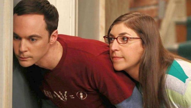 Sheldon (Jim Parsons) and Amy (Mayim Bialik) in 'Big Bang Theory.'