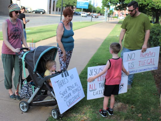 A family arriving at last Saturday's Families Belong
