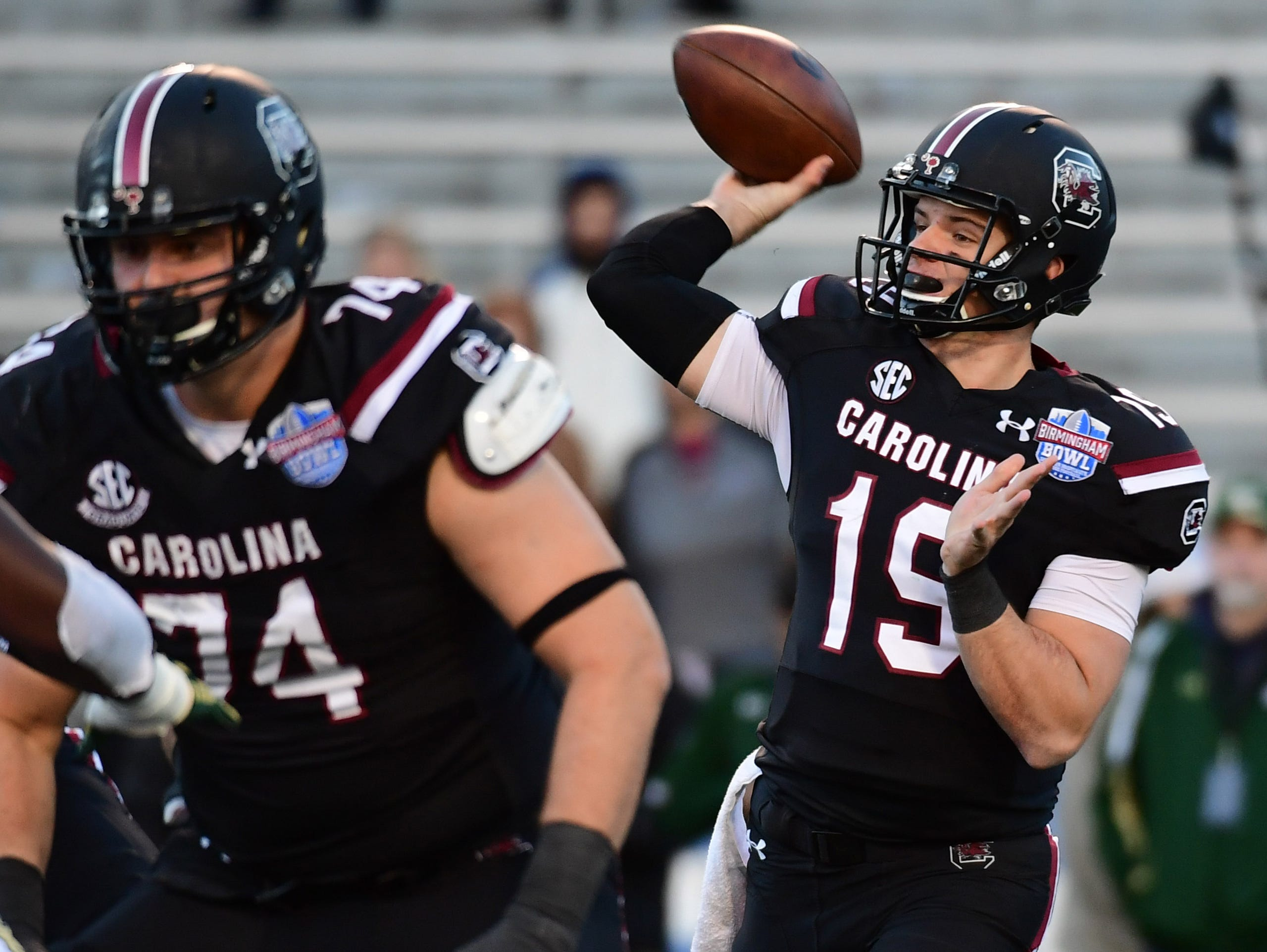South Carolina Gamecocks quarterback Jake Bentley (19) looks to pass during the fourth quarter against the South Florida Bulls in the 2016 Birmingham Bowl at Legion Field.