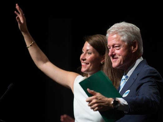 Former President Bill Clinton, right, came to support U.S. Senate candidate Alison Lundergan Grimes while on a campaign stop in Hazard, Wednesday, Aug. 06, 2014. Photo by Jonathan Palmer/ Special to the CJ