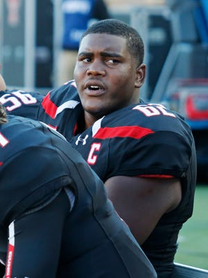 Texas Tech offensive lineman Le'Raven Clark (62) is pictured during an NCAA college football game against Oklahoma State in Lubbock, Texas, Saturday, Oct. 31, 2015.
