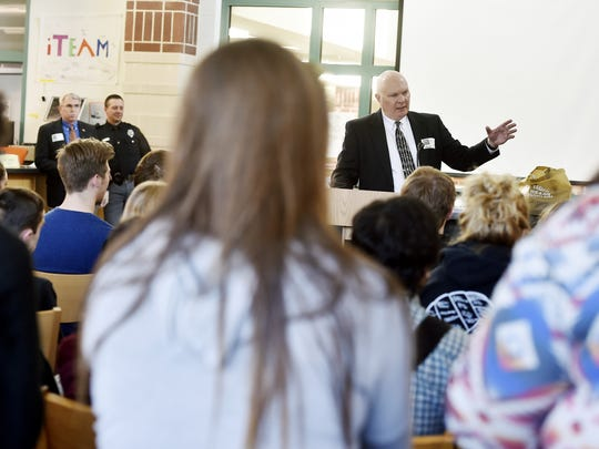Common Pleas Judge John S. Kennedy talks to talks to students at Central York High School about York County Drug Treatment Court on April 14, 2016. Teacher Erin Walker had been planning an addiction education program for her class. She moved it up and expanded the number of sessions after the the death of Dylan Gross, a senior who overdosed.