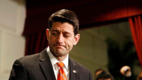 House Speaker Paul Ryan of Wis., departs after speaking