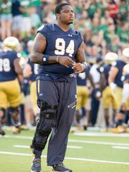 Injuries hampered Jarron Jones at Notre Dame, and he