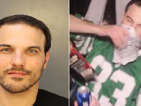 Vincent Lawson, 33, of Philadelphia is accused of kicking in a department store window after the Philadelphia Eagles' Super Bowl win.
