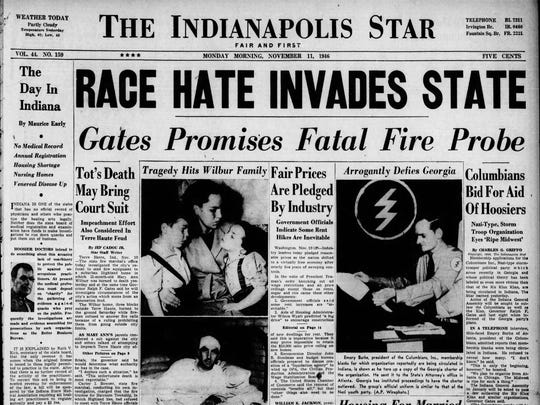 """In a front page article on Nov. 11, 1946, the Indianapolis Star exposed a """"Nazi-Type"""" group called the Columbians Inc. operating in Indiana."""