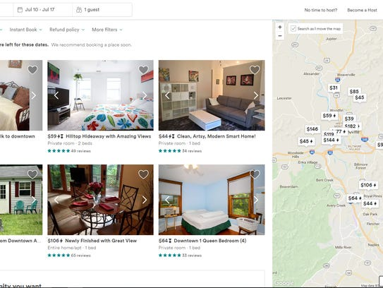 Screenshot of listings for Airbnb hosts in the area.
