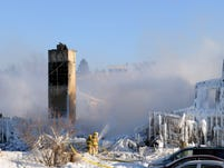 Smoke rises from the burnt remains of a retirement home in L'Isle-Verte  on January 23, 2014. Firefighters searched the ashes of a Quebec retirement home that burned to the ground on a bleak midwinter night, leaving more than 30 residents feared dead. Officials said the remains of three victims had been recovered and some 30 more were unaccounted for, while the local fire chief said rescuers were now searching for bodies.     AFP PHOTO/Remi SENECHALRemi Senechal/AFP/Getty Images ORIG FILE ID: 526341624