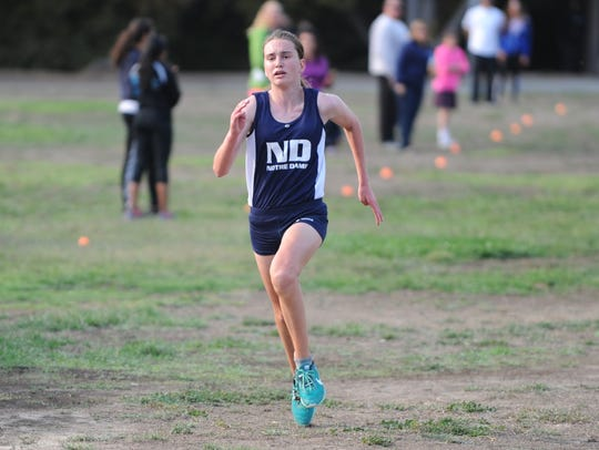 Notre Dame's Angela Leavitt races to the finish to