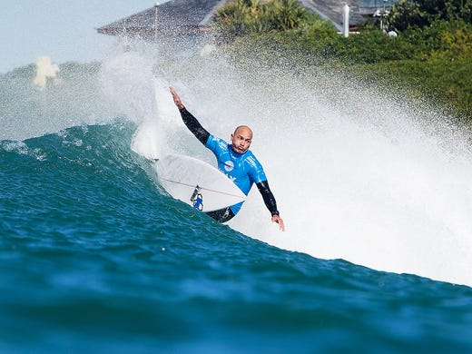Kelly Slater of Cocoa Beach, winning his quarterfinal